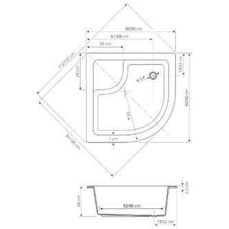 Acryl-Duschwanne,Viertelkreis 80x80x28cm inkl. Füßen, R550