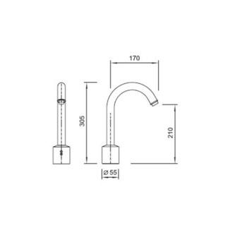 Sensorarmatur 6V (4xAA), 305mm, Chrom