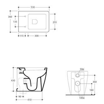 EGO WC 36x43x53cm, Abgang senkrecht/waagerecht