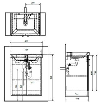 THEIA Unterschrank 56,4x70x44,2cm, 2x Tür, weiß