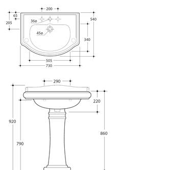 RETRO Keramik-Waschtisch 73x54cm, 3 Armaturlöcher