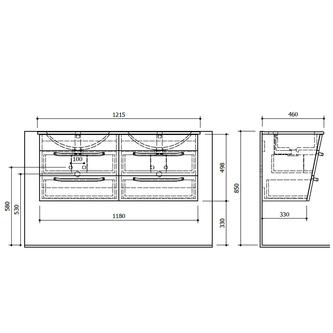 KALI Unterschrank 118x50x45cm, weiß (56121)