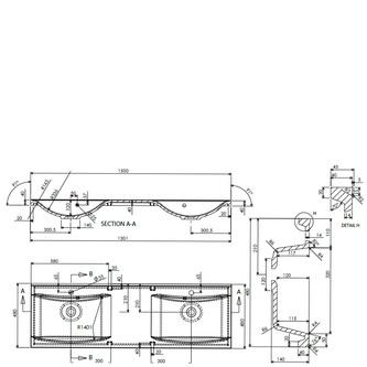 LUCIOLA Gussmarmor-Doppelwaschtisch 150x48cm, weiß