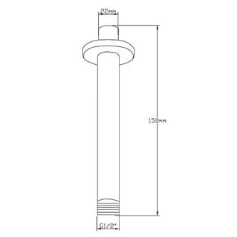 Decken-Duscharm, rund, 150 mm, Chrom