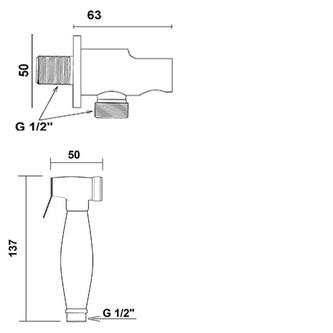 Bidetbrause, Retro-Stil, Schlauch und Brausehalter mit Duschanschluss, Roségold