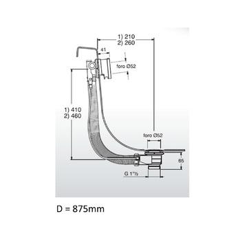 Ablaufgarnitur mit Einlauf, Bowden, Länge 975mm, Stopfen 72mm, Chrom
