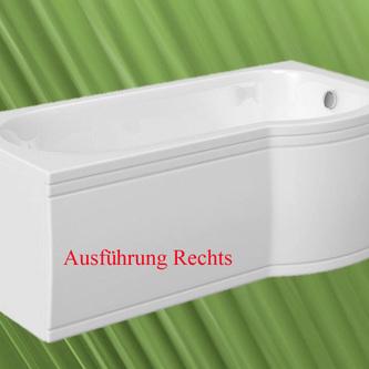 Raumspar Badewanne mit Duschzone 150x80/70 cm rechts weiß Komplett-Set