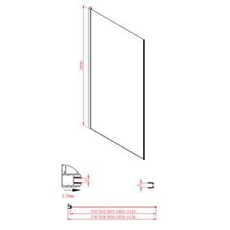 MODULAR SHOWER Glaswand (A) 1100 mm, MS2