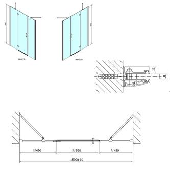 VITRA LINE Duschtür 1500mm, links, Klarglas