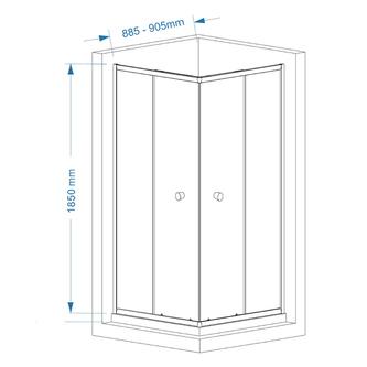 AGGA Duschabtrennung Quadrat 900x900mm, Klarglas