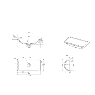 KAMA Gussmarmor-Waschtisch 500x260mm, weiß