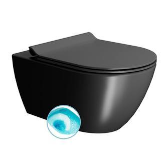 PURA Hänge-WC 55x36 cm, SWIRLFLUSH Spülgarnitur, schwarz dual-matt