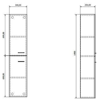ZOJA/KERAMIA FRESH Hochschrank 30x140x25cm, platineiche