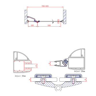 LEGRO Duschtür für Nische 800mm, Klarglas
