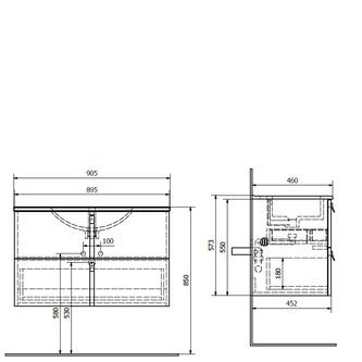 MITRA Unterschrank 90,5x55x46cm, bordeaux