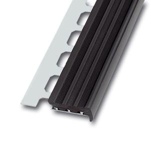 Treppenstufenprofil aus Aluminium mit PVC-Einlage, Sichtbreite 36mm, schwarz oder grau, Länge 250cm, Höhe 9 und 11mm