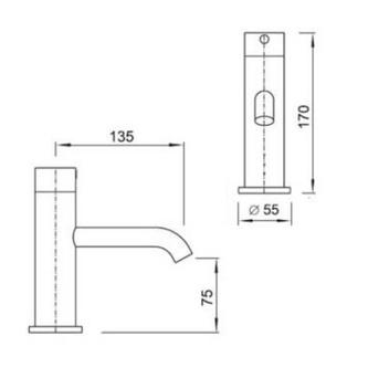 Sensorarmatur mit Temperaturregelung, 12V, 50Hz, 170mm, Chrom