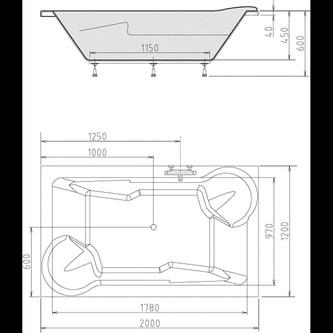 DUO Rechteckwanne mit Rahmengestell 200x120x45cm, weiß
