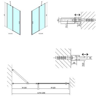 ZOOM LINE Duschtür 1200mm, Klarglas