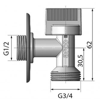 """Waschmaschinenventil L-86 1/2""""x3/4"""" mit Antikalk-System, chrom"""