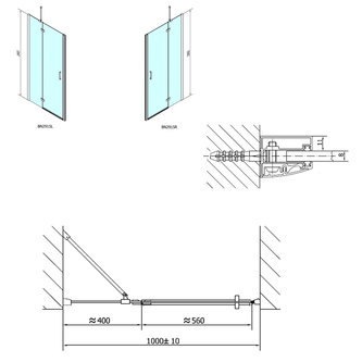 VITRA LINE Duschtür 1000mm, rechts, Klarglas