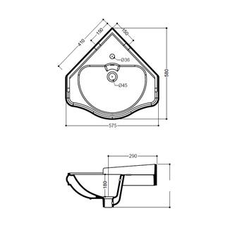 RETRO Keramik-Eckwaschtisch 57,5x58cm