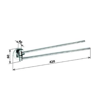 X-ROUND  Handtuchhalter 2-Fach, drehbar, 420mm, Chrom