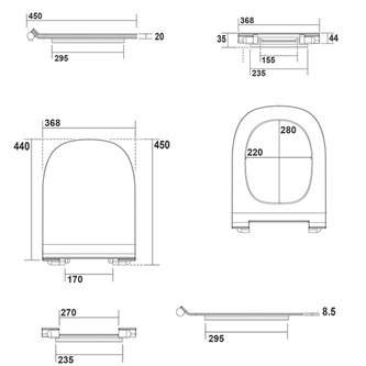 FLO WC-Sitz Soft Close SLIM, Thermoplast, weiß