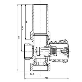 Waschmaschinenventil mit Rückventil 3/4'x3/4', Chrom
