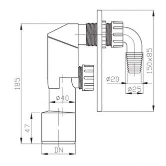 Waschmaschinensiphon 40/50mm, Edelstahl