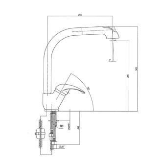 AXUS Küchenarmatur mit ausziehbarer Spülbrause, Höhe 345mm, Chrom