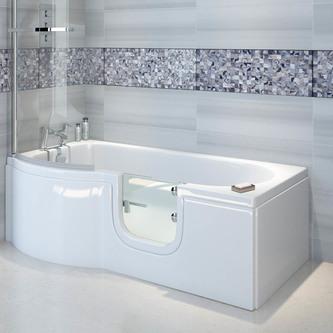 SKALI Badewanne mit Tür/Seniorenbadewanne 167,5x85/75cm Links