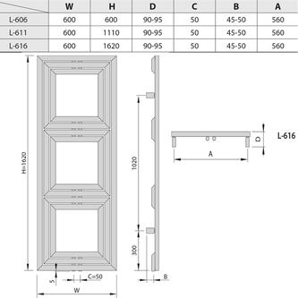 LIBRA TRIAL Heizkörper 600x1620mm, 909 W, silber strukturell