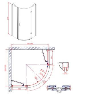 LEGRO Duschabtrennung Viertelkreis 900x900mm, zweiflügelig, Klarglas