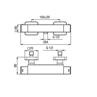 DIMY Thermostat-Duscharmatur, Chrom