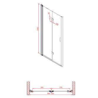 ONE Duschfalttür 900 mm, rechts, Klarglas