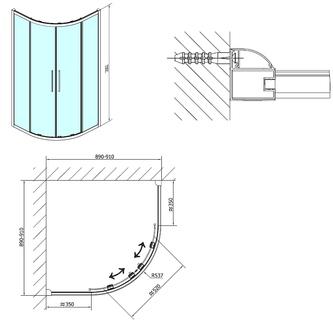 LUCIS LINE Duschabtrennung Viertelkreis, 900x900mm, R550, Klarglas