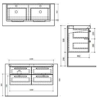 THEIA Doppelunterschrank 116x50x44,2cm, 4xSchublade, Kiefer Rustikal