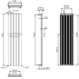 MIMOSA Aluminiumheizkörper 370x1500, weiß RAL9016