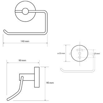 X-ROUND BLACK Toilettenpapierhalter ohne Deckel, schwarz