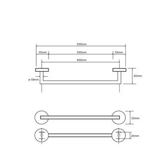 X-ROUND Handtuchhalter 450mm, Chrom