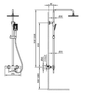 Duschsäule mit Thermostat-Armatur, schwarz