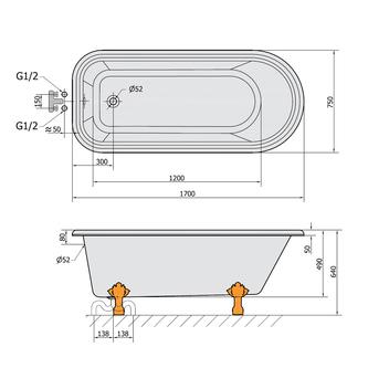 FOXTROT Freistehende Badewanne 170x75x47cm, Füße Chrom