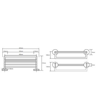 X-Round Handtuchregal mit Reling 650x215x110mm, Chrom