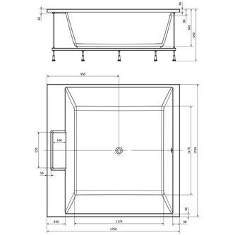 CAME Quadrat-Badewanne mit Rahmengestell 175x175x50cm, weiß