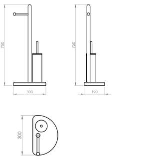 HIBISCUS Ständer mit Halter für Toilettenpapier und WC Bürste, chrom