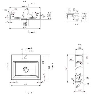 ORINOKO Gussmarmor-Waschtisch 42x10x36cm, weiß