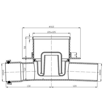 Bodeneinlauf 105x105 durchgehender Abfluss 50mm, Edelstahl