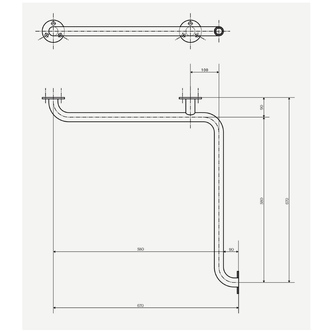 Haltegriff für die Dusche 670x670mm, Edelstahl
