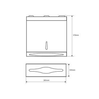 Papiertuchspender 285x370x105mm, polierter Edelstahl